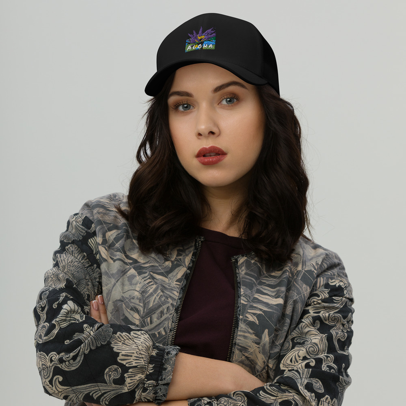 Embroidered Lotus Aloha Trucker Cap