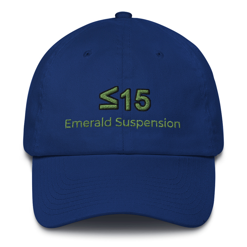 Cotton Cap embroidered with <=15 and Emerald Suspension