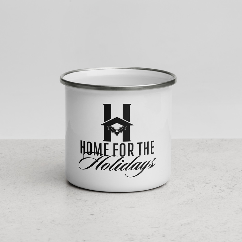 """Enamel Mug """"Home for the Holidays"""""""