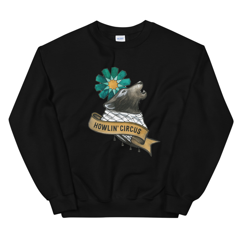 Unisex Crew Neck Wolf Howlin' Circus Sweatshirt