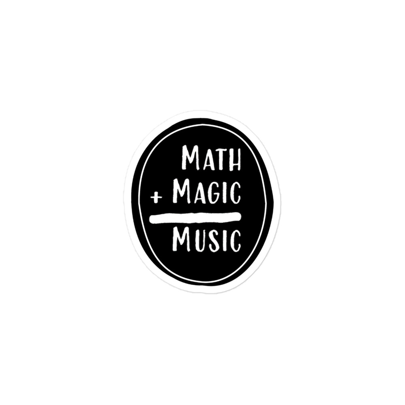Math + Magic = Music Stickers in Black with Border