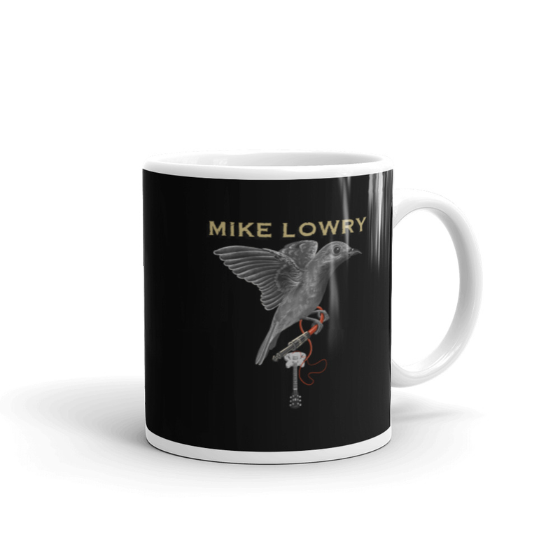 Mug - Bird and Guitar with black background
