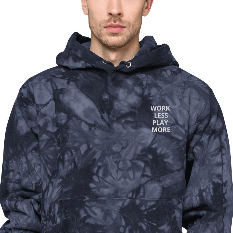 WORK LESS PLAY MORE Unisex Champion tie-dye hoodie