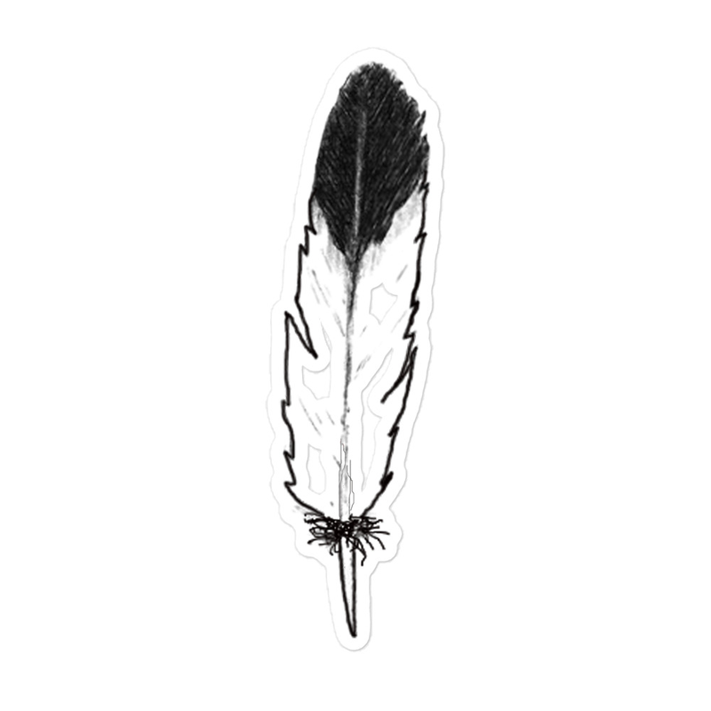 Eagle Feather - Dark Tip (Left Side) - Bubble-free stickers