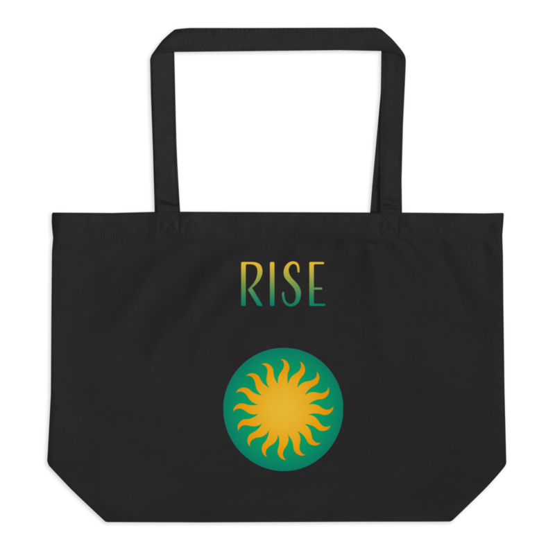 """Sun Logo + """"Rise"""" + """"Shine"""" Text - Double-sided - Large Eco Tote Bag"""