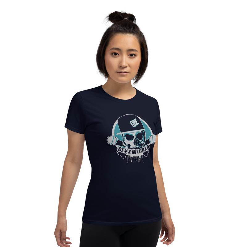 Women's Slyzwicked Logo Shirt  (Ocean Blue/Grey Print)