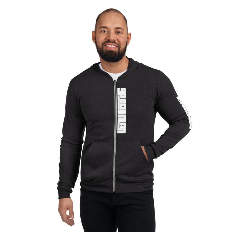 sPoonman Unisex zip hoodie, Left arm Logo