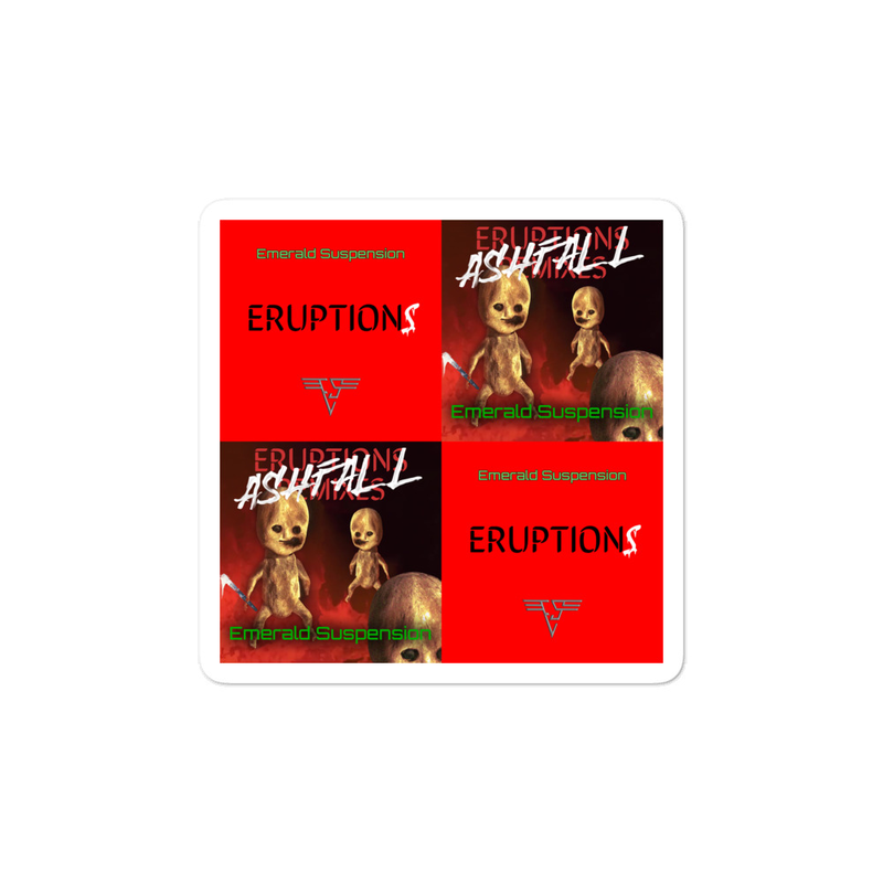 Stickers with Eruptions and Ashfall album covers