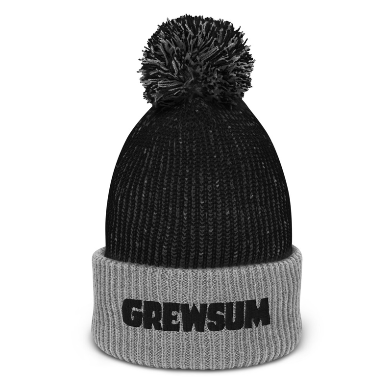 GrewSum - Embroidered Pom-Pom Beanie