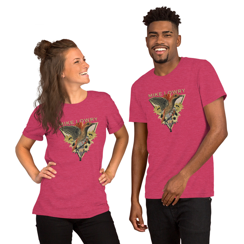 Bird and Flowers with Guitar - Short-Sleeve Unisex T-Shirt