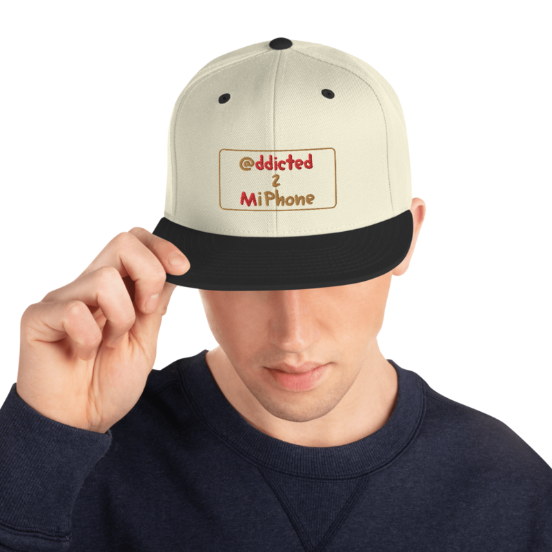 """""""@ddicted 2 Mi Phone"""" - Gold + Red Text + Gold Phone - Adjustable Snapback Hat"""