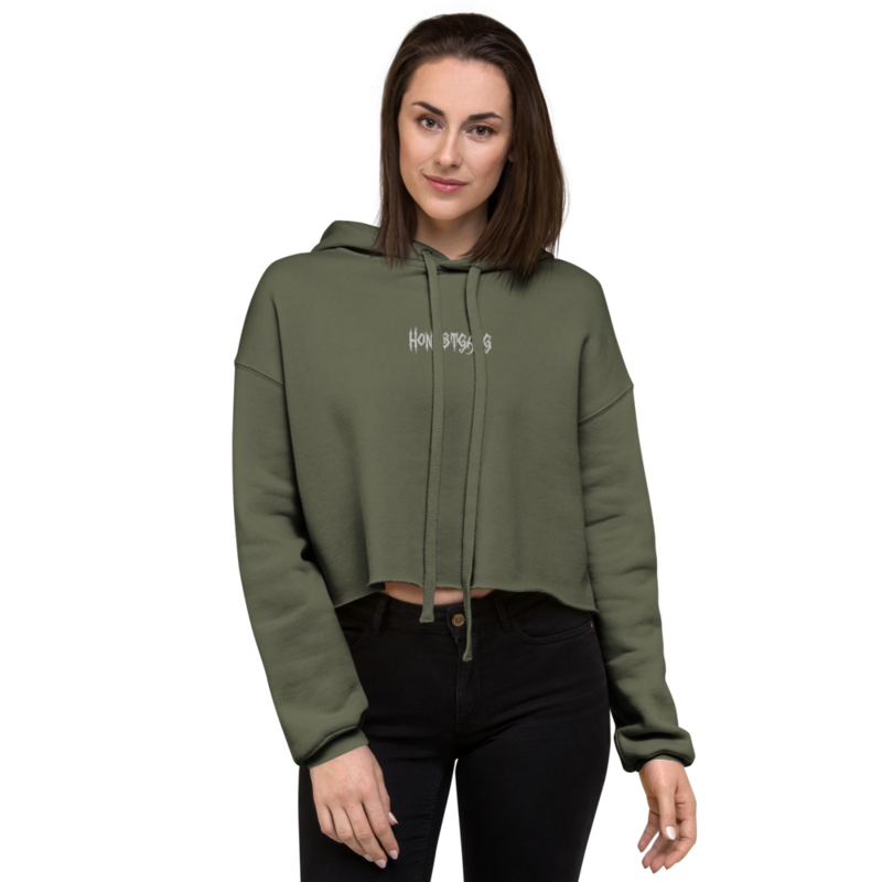 HONESTGANG Women's Embroidered Cropped Hoodie
