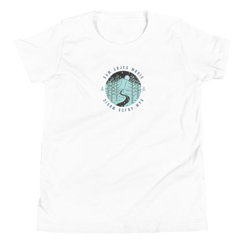 Sam Arjes Music Logo Youth Crew Neck T-Shirt (Unisex, White)