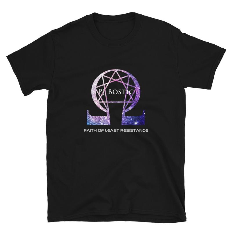 Faith of Least Resistance T-shirt (black w/purple logo, front & back print)