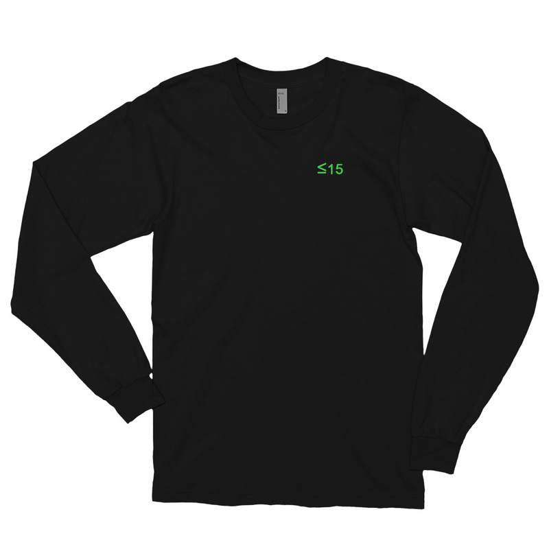 Long sleeve t-shirt with <=15 on front and album cover on back
