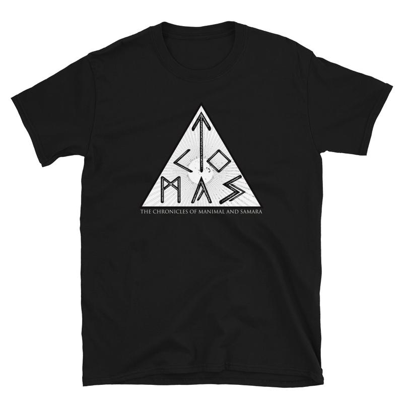 Black Short-Sleeve Unisex T-Shirt with 'TCOMAS' logo with runic alphabets