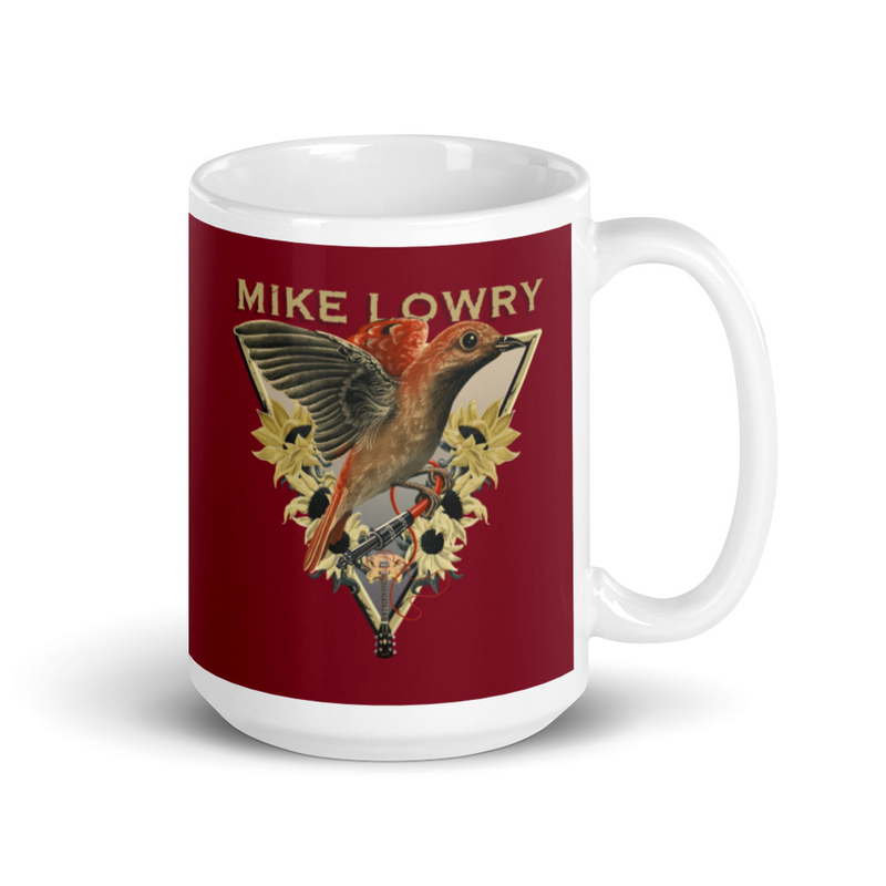 Mug - Bird and Flowers with Guitar on red background