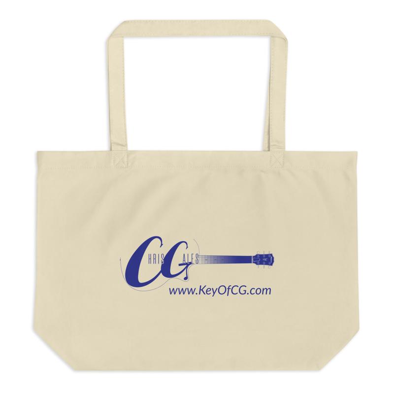 Chris Gales Blue Logo Large Organic Tote Bag