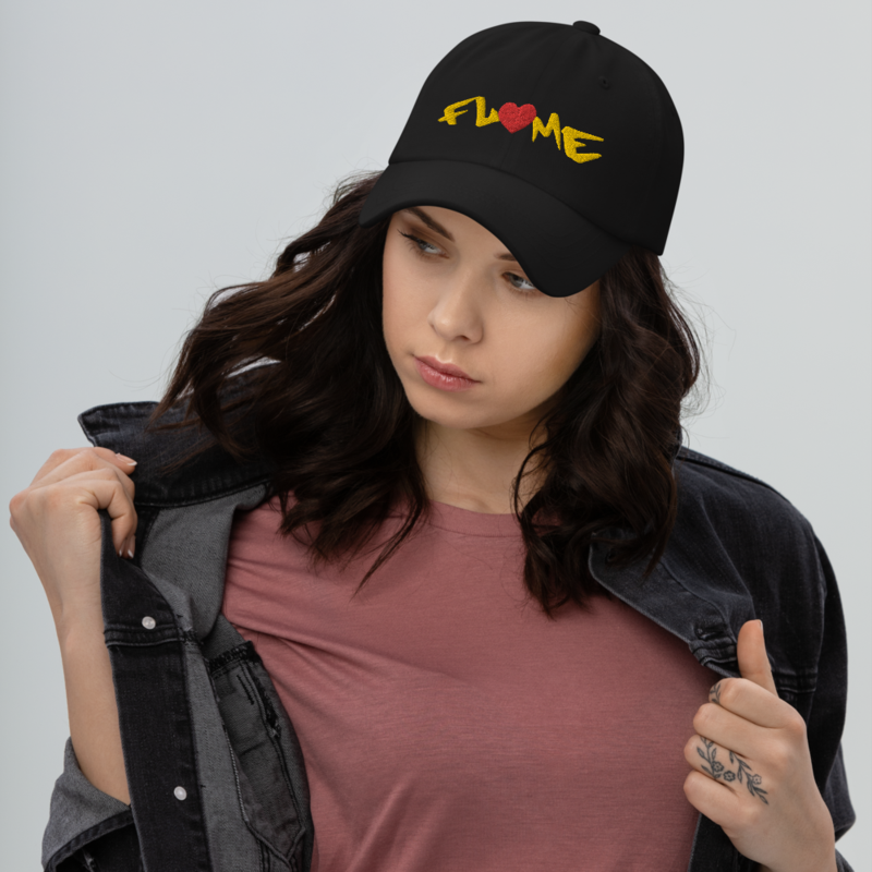 """Don't Go!"""" Flame Text + Heart - Curved Visor Hat + Adjustable Buckle Strap"""