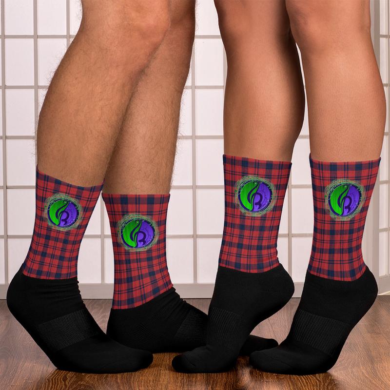 Red Plaid Logo Socks