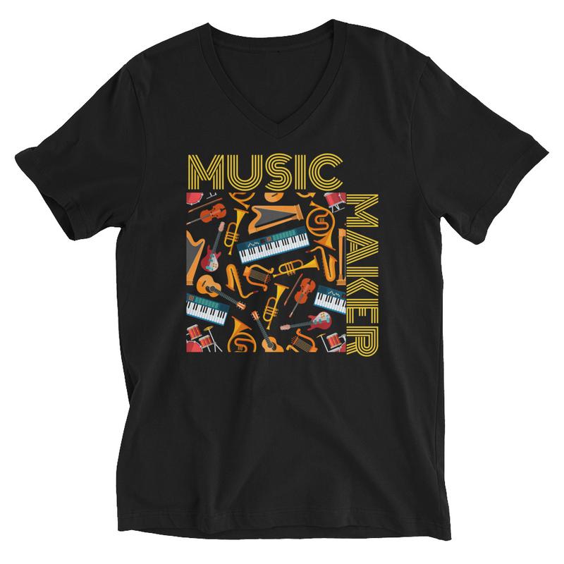 'MUSIC MAKER' UNISEX V-NECK T-SHIRT