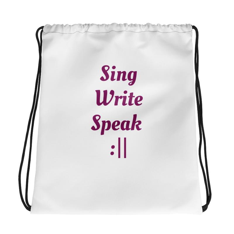 Sing Write Speak Repeat Drawstring Bag