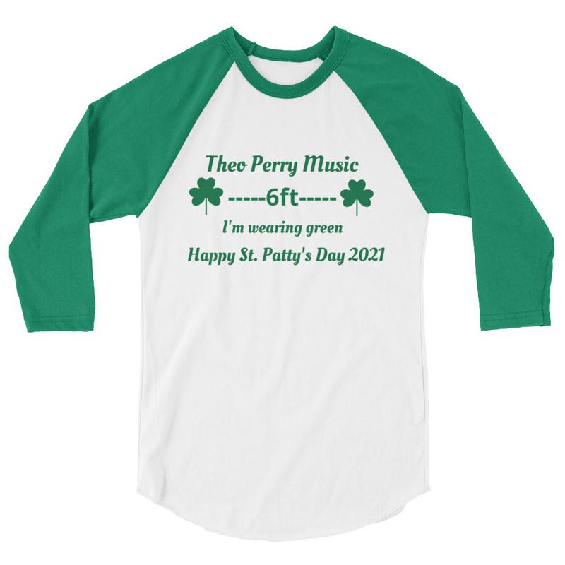 Theo Perry  Music St. Patty's Day 3/4 sleeve raglan shirt