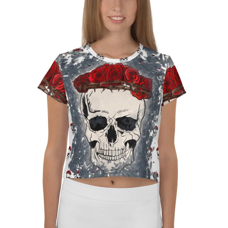 Thalia Gonzalez & Orion Corona De Rosas Skull All-Over Print Crop Tee