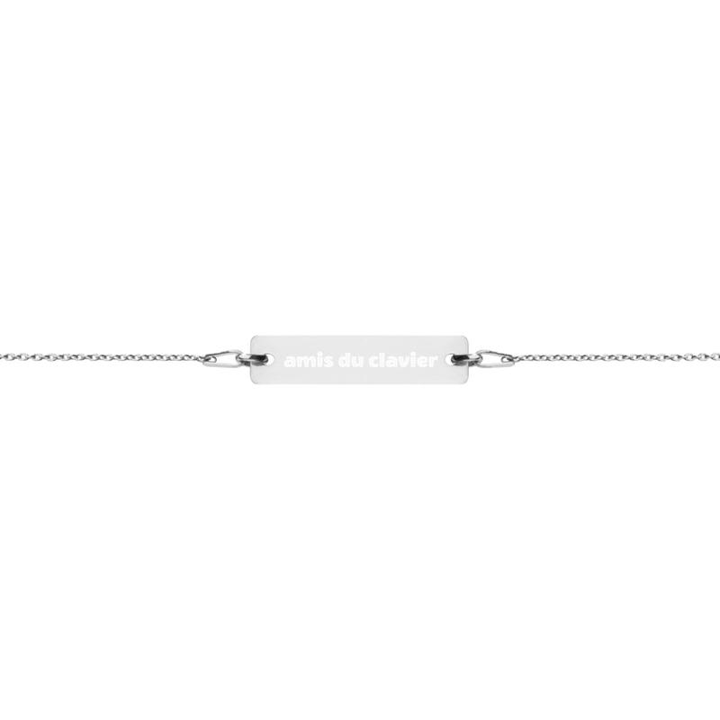 Bracelet Chaîne avec Pendentif Gravé en Argent «amis du clavier»