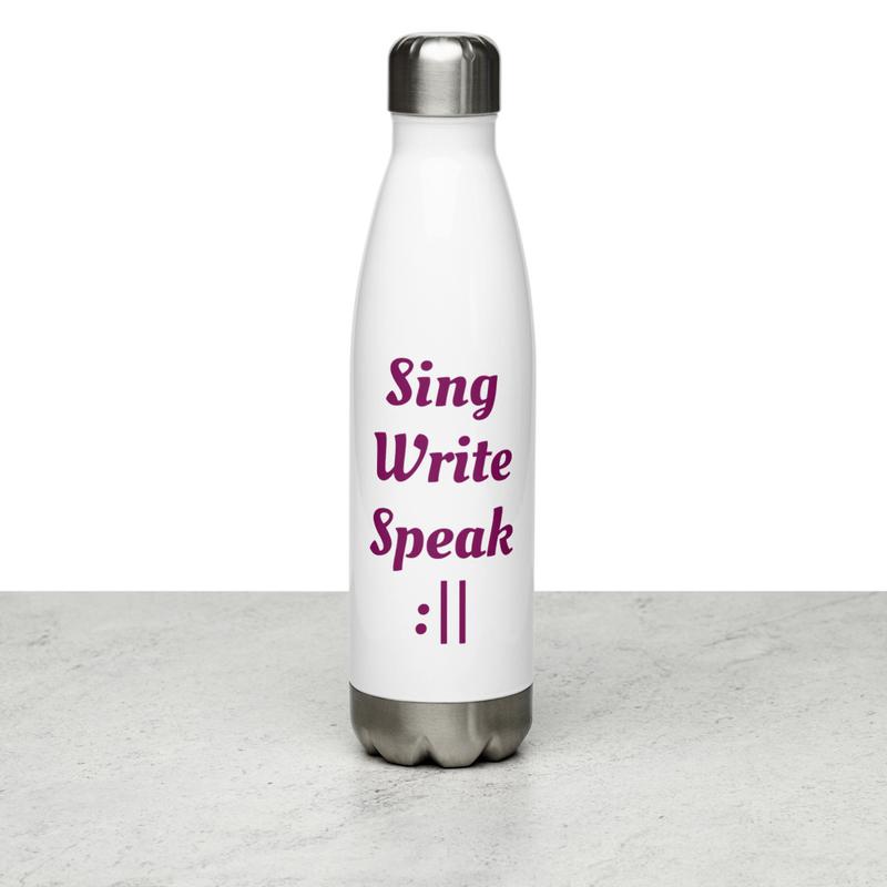 Sing Write Speak Repeat Stainless Steel Water Bottle