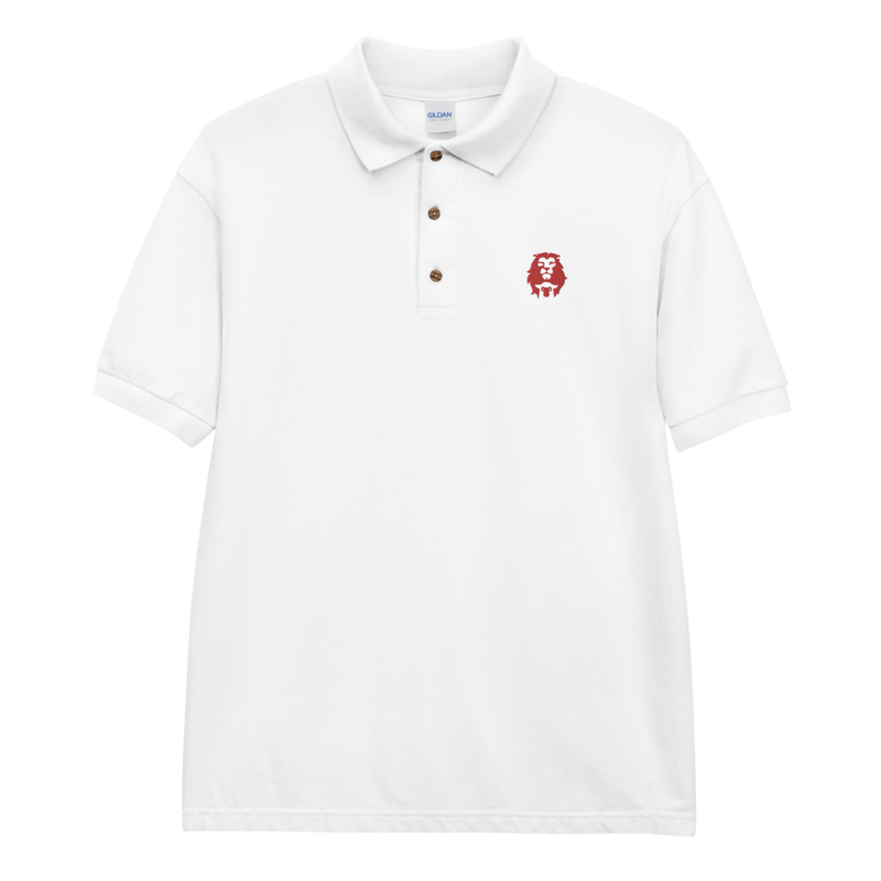Lion & Lamb (Red) Embroidered Polo Shirt