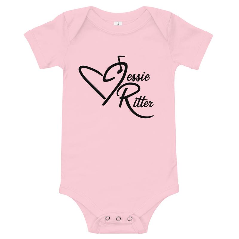 Baby Short Sleeve One Piece - Jessie Ritter Logo (white, yellow, pink)