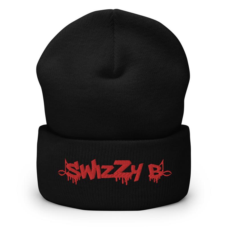 Black SwizZy B Cuffed Beanie (Red Stitching)