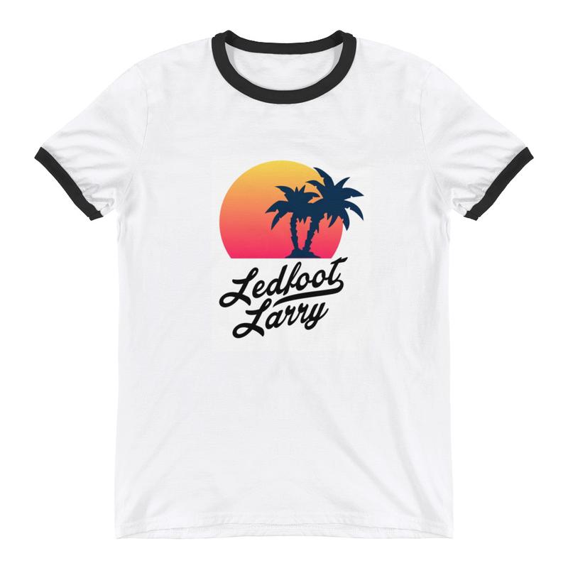 "Ledfoot Larry ""The Island"" | Ringer T-Shirt (WHT/BLK)"