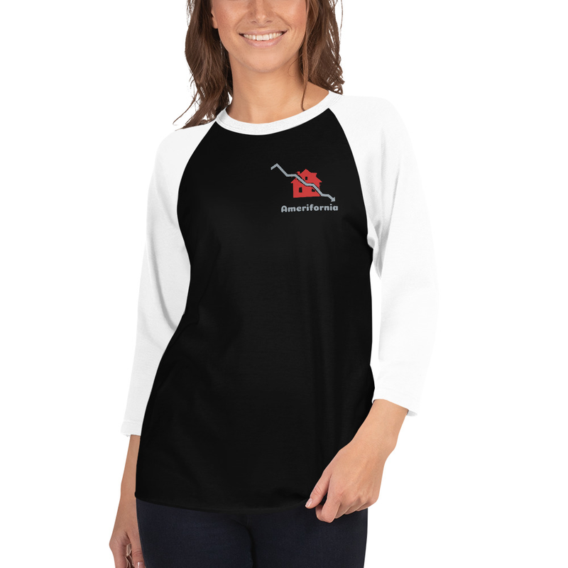 Amerifornia 3/4 sleeve raglan shirt