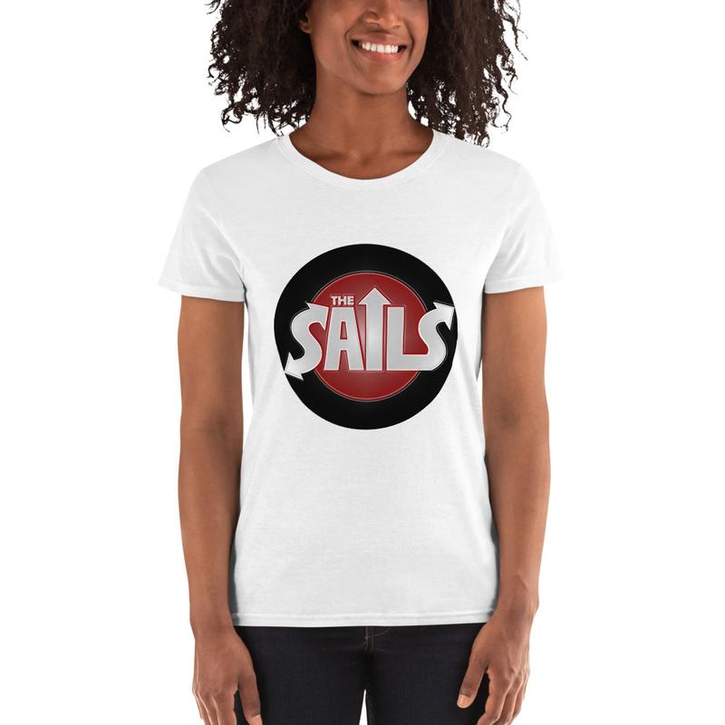 Women's short sleeve t-shirt (Red/Block Logo on White)