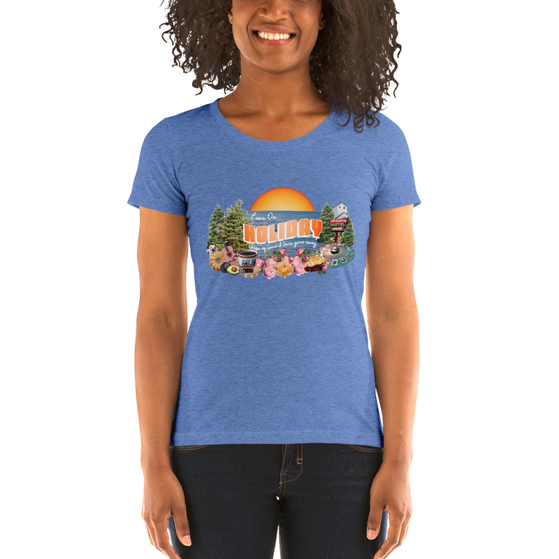 Love on Holiday Women's Triblend Tee in Orange or Blue