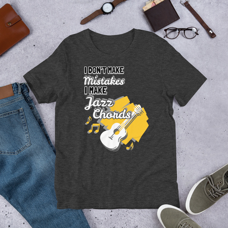 I Don't Make Mistakes, I Make Jazz Chords Dark Colors Guitar Shirt (Unisex Staple T-Shirt - Bella + Canvas 3001)