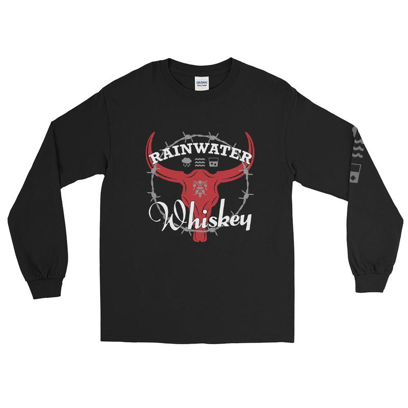 RWW Skull Men's Long Sleeve Shirt - Skull Logo (Front), Small RWW Label Logo (Back), RWW Icons (Left Sleeve)