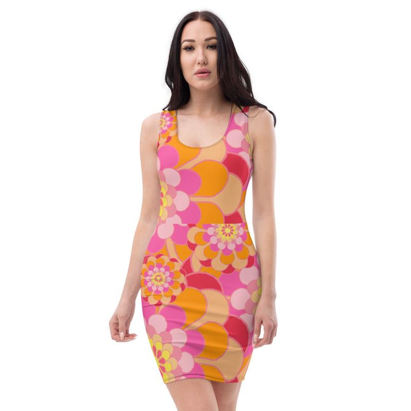 AHoney Pink Flowers Sublimation Cut & Sew Dress