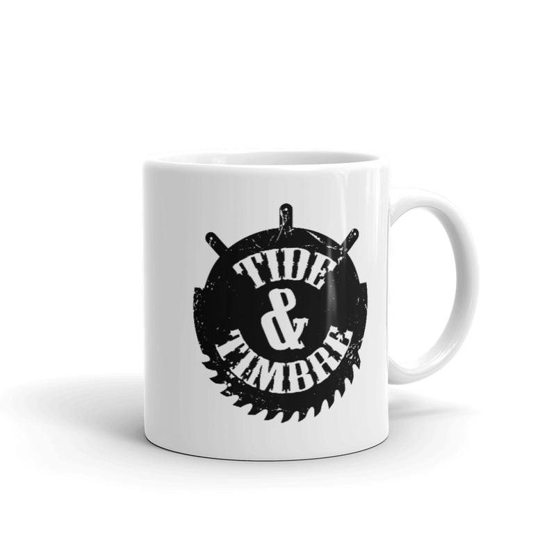 Tide & Timbre Logo White glossy mug