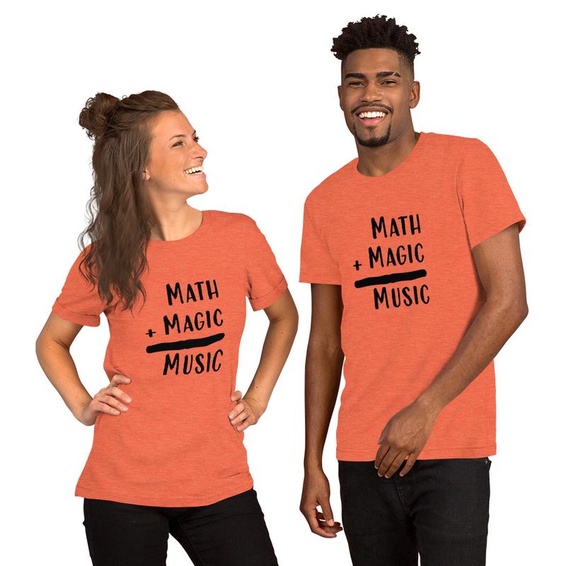 Math + Magic = Music Black Lettering Unisex Tee More Colors (Unisex Staple T-Shirt - Bella + Canvas 3001)