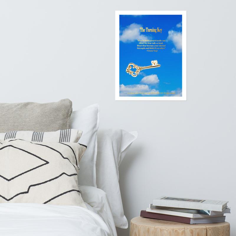 The Turning Key with Lyrics Blue Premium Photo paper poster