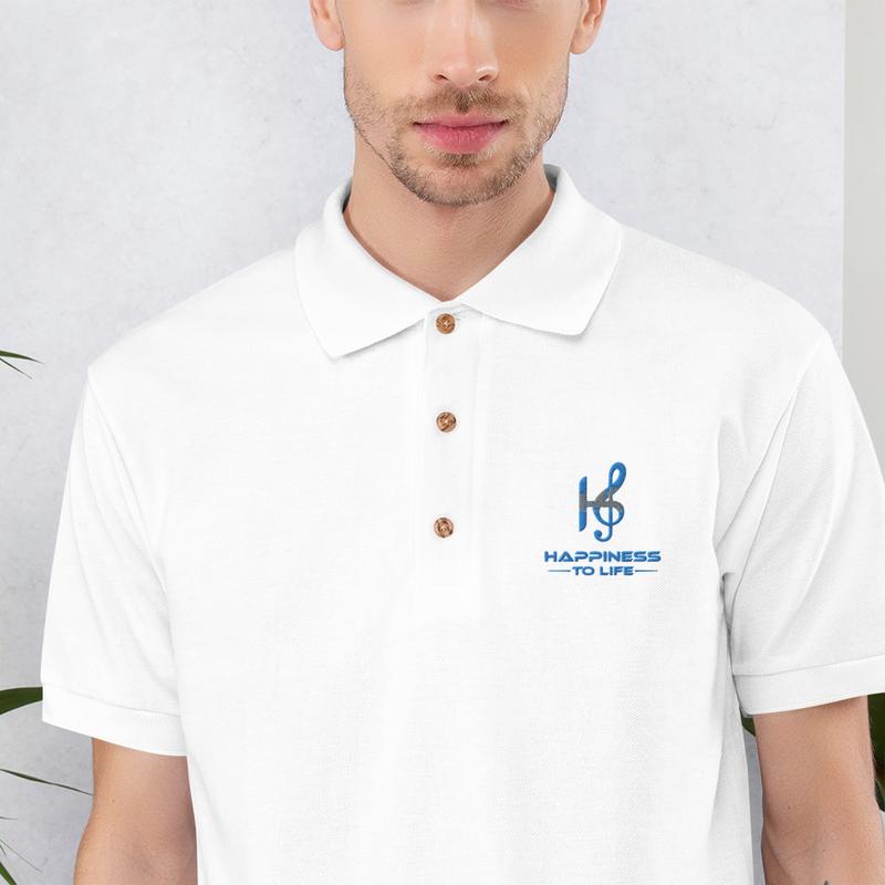 Happiness to Life Embroidered Polo Shirt