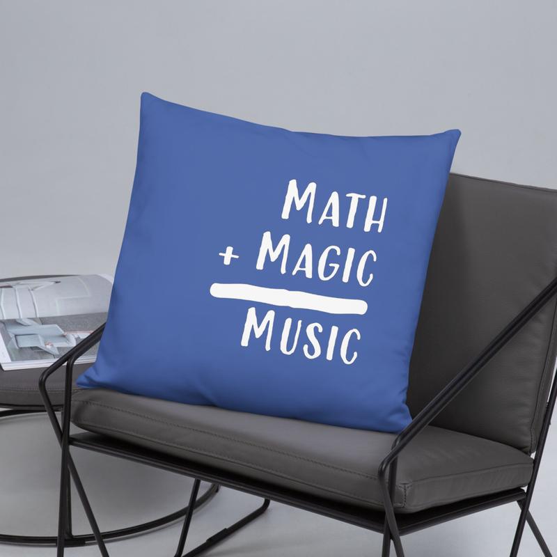 Math + Magic = Music Pillow in Mariner Blue