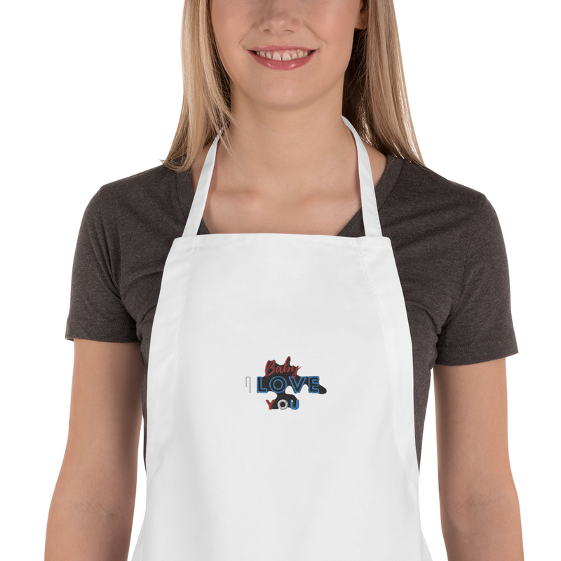 baby I love you Embroidered Apron