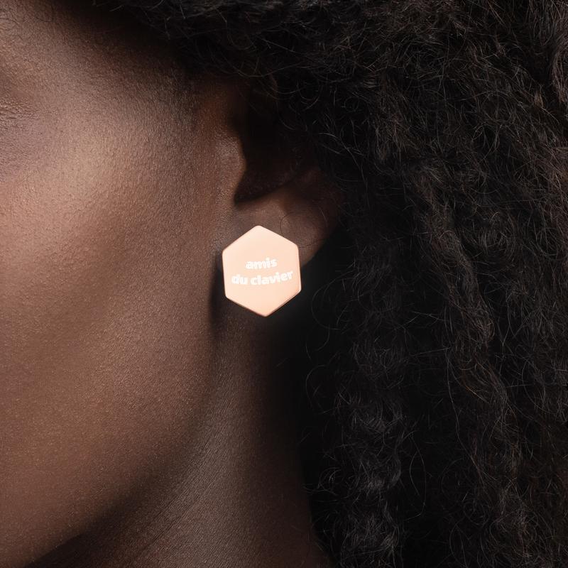 Boucles d'oreilles hexagonales en argent sterling «amis du clavier»