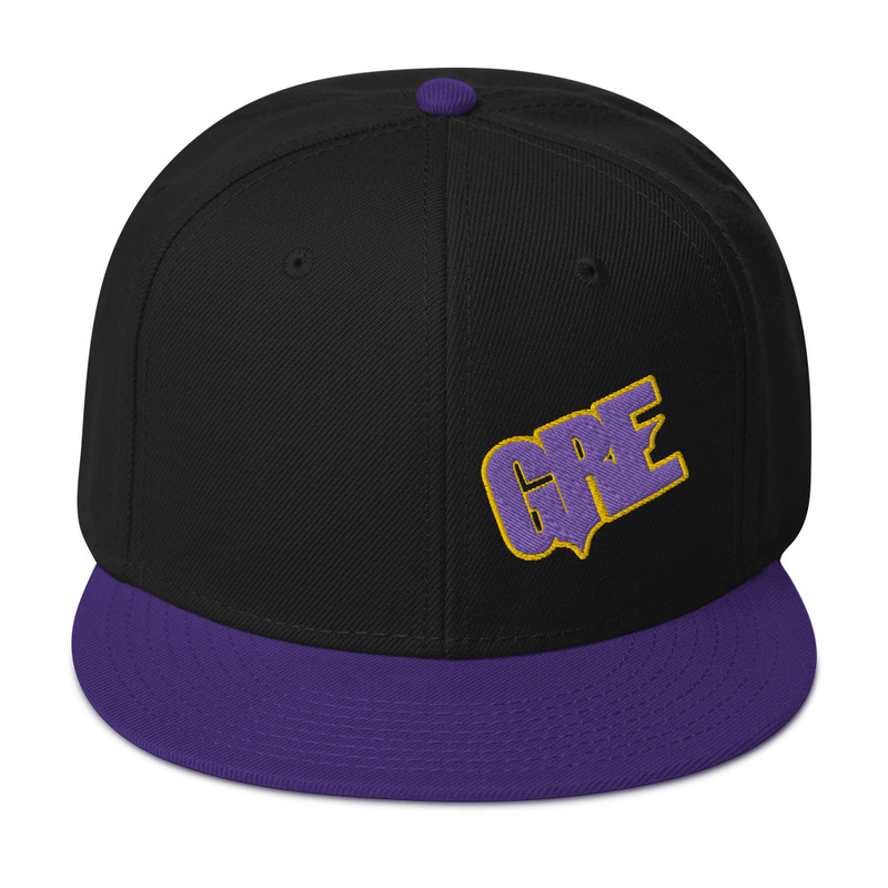 """GRE"" Logo Snapback Hat (Purple/Gold)"
