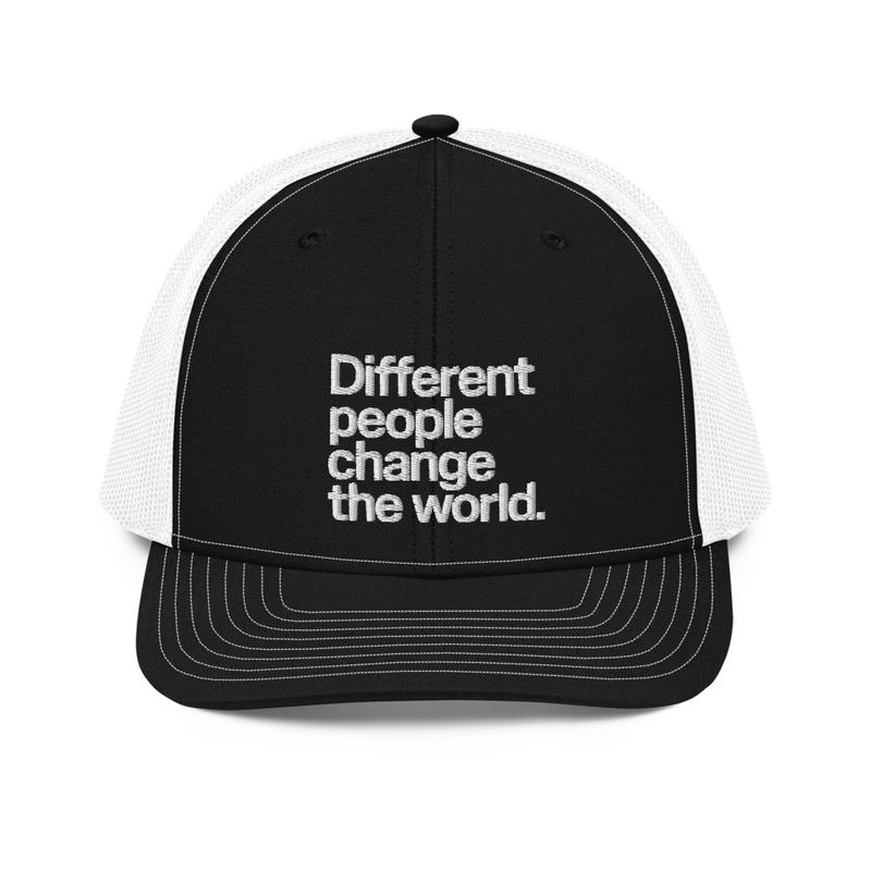 """Different People Change The World"" Embroidered Trucker Hat"