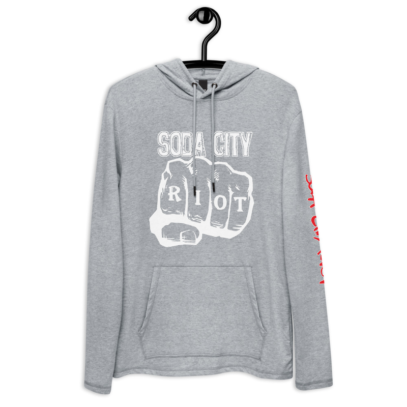 Soda City Riot Fist Hoodie Red Font Sleeve